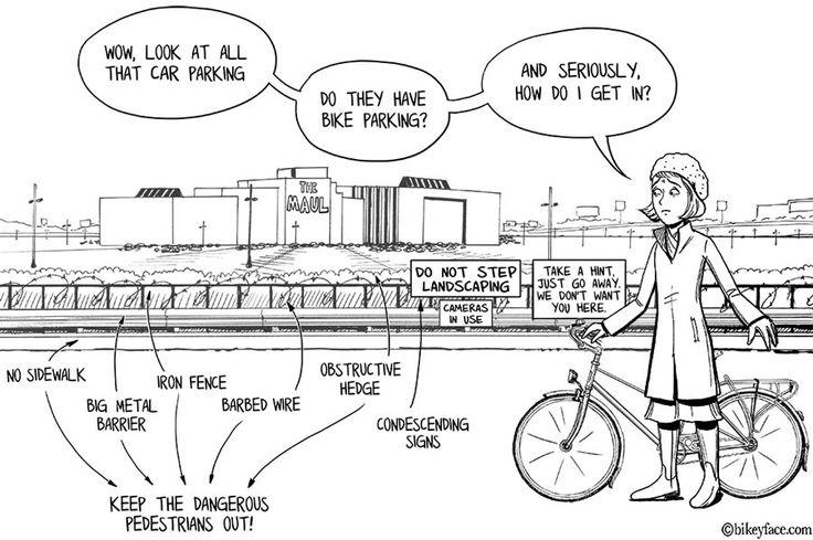 Barriers to active transport artwork by bikeyface www.bikeyface.com