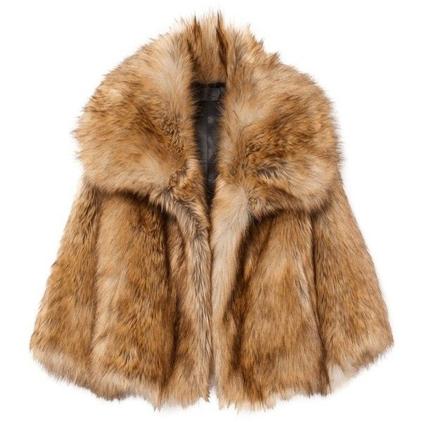 GARBO FAUX FUR COAT (41,000 THB) ❤ liked on Polyvore featuring outerwear, coats, jackets, fur, brown coat, cropped coat, faux coat, cropped faux fur coat and oversized collar coat