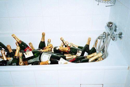 bathtub as champagne cooler