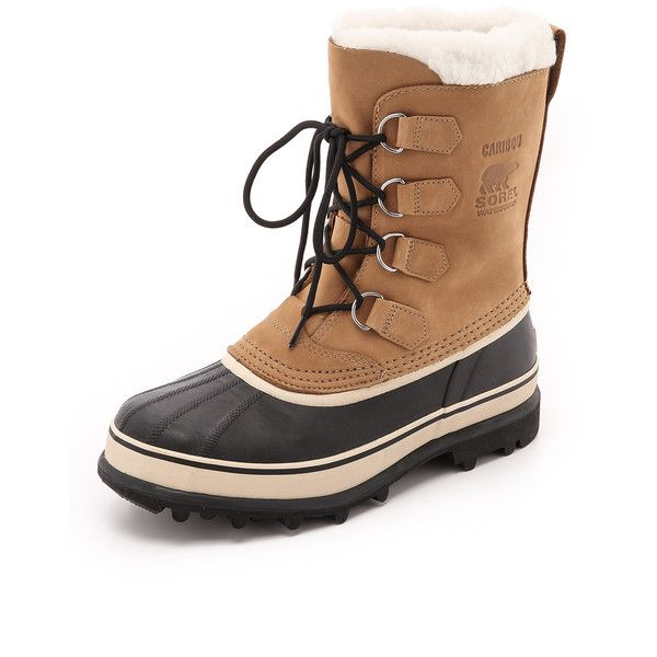 Sorel Caribou Boots (1,000 CNY) ❤ liked on Polyvore featuring men's fashion, men's shoes, men's boots, buff and sorel mens boots