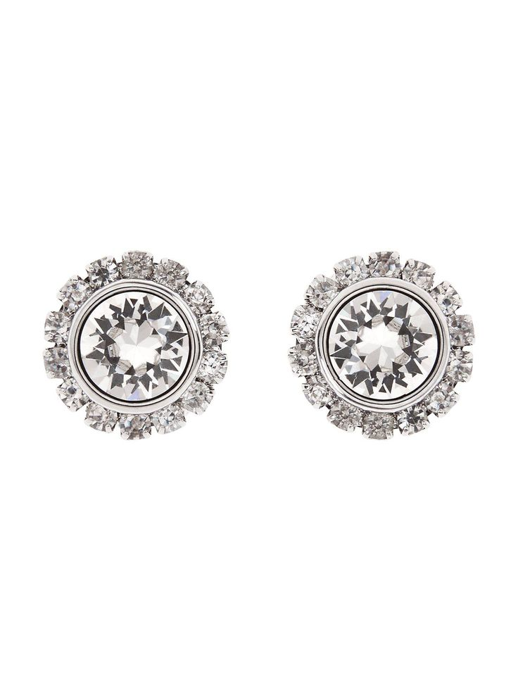 Ted Baker Swarovski Crystal Stud Earrings - Silver  These Swarovski crystal stud earrings by Ted Baker add instant glam appeal to any outfit! Covered in crystals set in silver, they're perfect for when you're feeling particularly glam, and their stud style makes them effortless to wear! Be sure to show them off and wear with swept back hair and a delicate matching necklace. Material Content: Brass & Stainless Steel With White Bronze Plating - Swarovski CrystalDiameter: 1.2cm