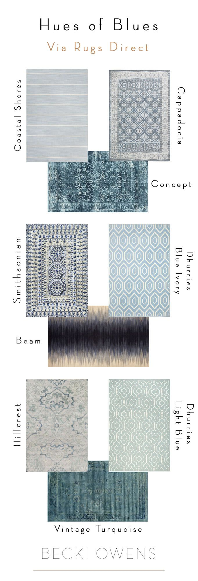 There are so many beautiful shades of blue rugs. Some are subtle and work as a great neutrals, while others can add fresh, vibrant color to a space. Blue rugs work well in coastal designs, like the master bedroom of my San Clemente Beach House project. They can also be bright, clean and give contemporary update. I've selected several pretty blue rugs from Rugs Direct that are excellent foundations for a room.
