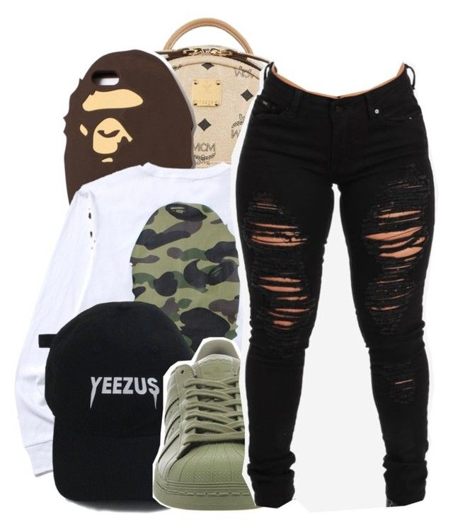 """I mean who am I to hold ya past against you?"" by shilohluvsu ❤ liked on Polyvore featuring MCM, A BATHING APE and adidas"
