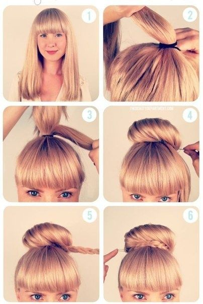 High bun with braid tutorial