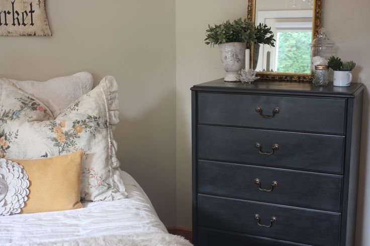 Cherry wood dresser in Annie Sloan graphite and sealed with lots of dark wax