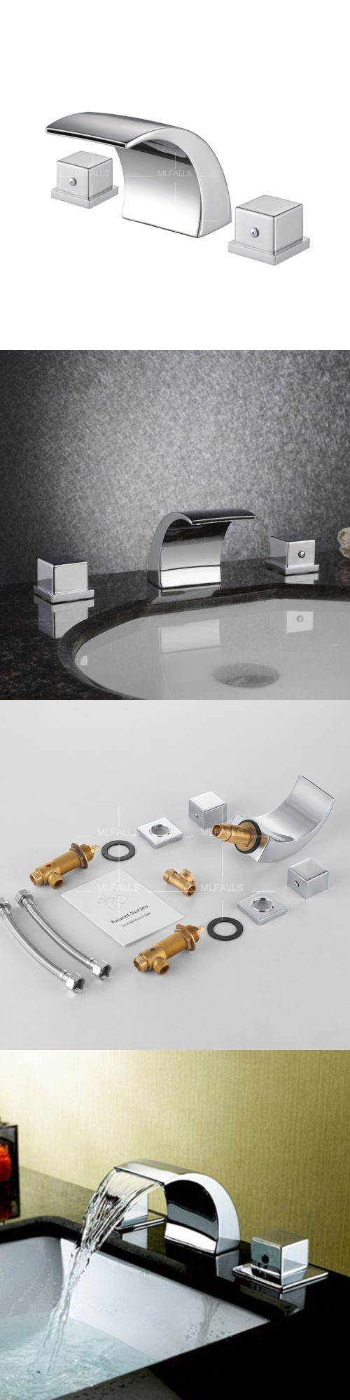 Bathroom sink faucet one hole double handle basin mixer tap ebay - Faucets 42024 Waterfall Bathroom Basin Sink Faucet Chrome 2 Handle 3 Hole Widespread