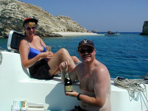 Greek islands:   Tough spot for a lunch break.