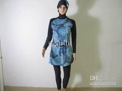 Wholesale 2013 new arrival print color fashionable muslim women swimwear modest islamic swim suits online, Free shipping, $30.74-39.77/Piece | DHgate