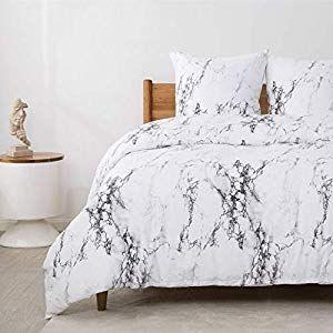 Bedsure Baumwolle Bettwäsche 200×200 cm Weiß Bettbezüge mit Mamor Muster 3-Te…