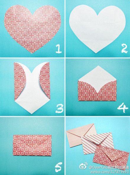 Gift Wrap: DIY Heart envelope: