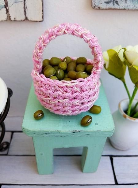 Miniature basket  dollhouse basket  crochet basket by DewdropMinis