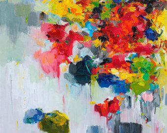Impressão, pintura abstrata, pintura a óleo, impressão das belas artes, giclée, arte da parede, decoração, 12x16 Flor Imprimir