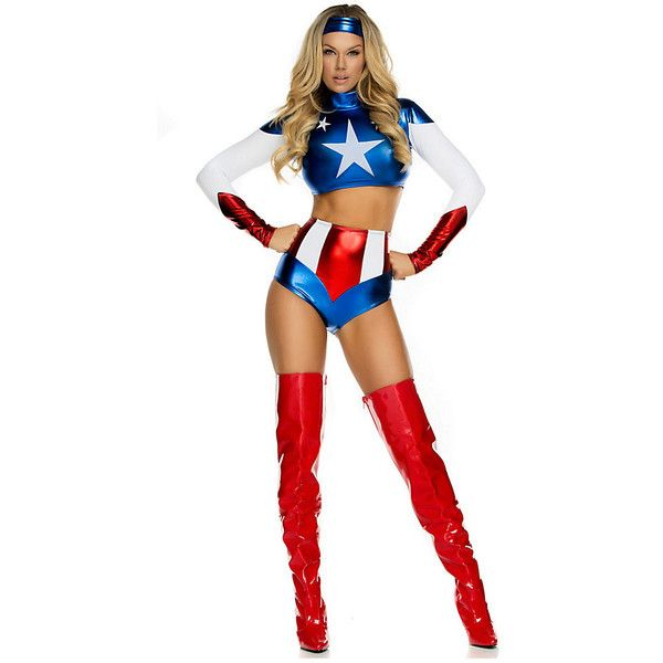 Adult Pretty Patriot Sexy Costume ($65) ❤ liked on Polyvore featuring costumes, halloween costumes, multicolor, forplay, sexy adult halloween costumes, white costume, colorful halloween costumes and colorful costumes
