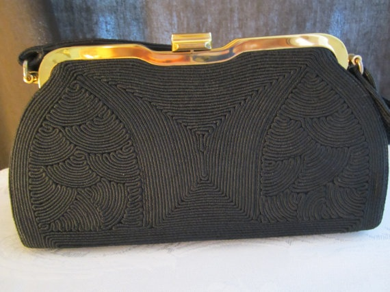 60s Black Corde Normandie Purse by FancyVintageFinds on Etsy, $24.00
