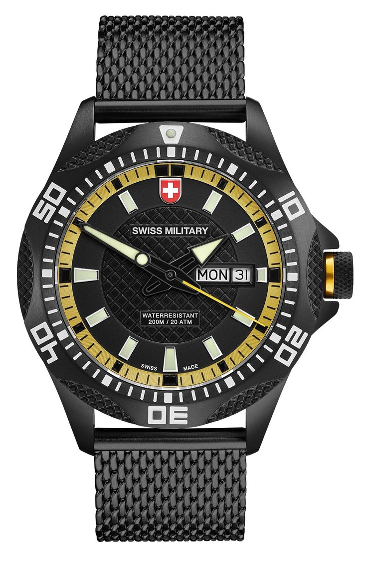 M's SWISS MILITARY day/date watch TANK NERO, Ronda cal. 517 Swiss Made quartz mvt., black/yellow dial, black PVD stainless steel case/mesh bracelet, screw-down crown, sapphire crystal, 20atm / 200m water resistance, black PVD plated stainless steel bracelet, width 22mm, with double pusher butterfly buckle, case: 44 mm, weight: 148gr. rrp = USD 722