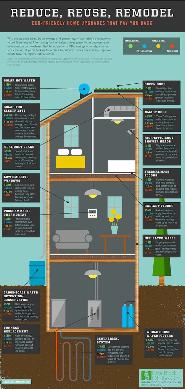 Self Sustaining Home Ideas for living a greener life. Eco Friendly Home Upgrades Infographic