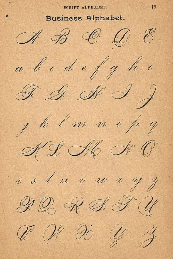 1890s calligraphy print page capital letters ornamental Calligraphy pages