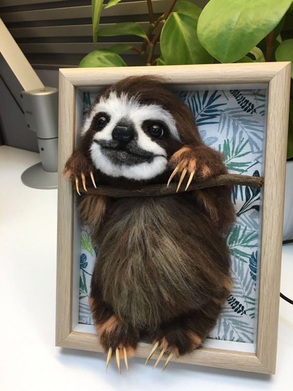 Needle wool felt of a smiling Sloth