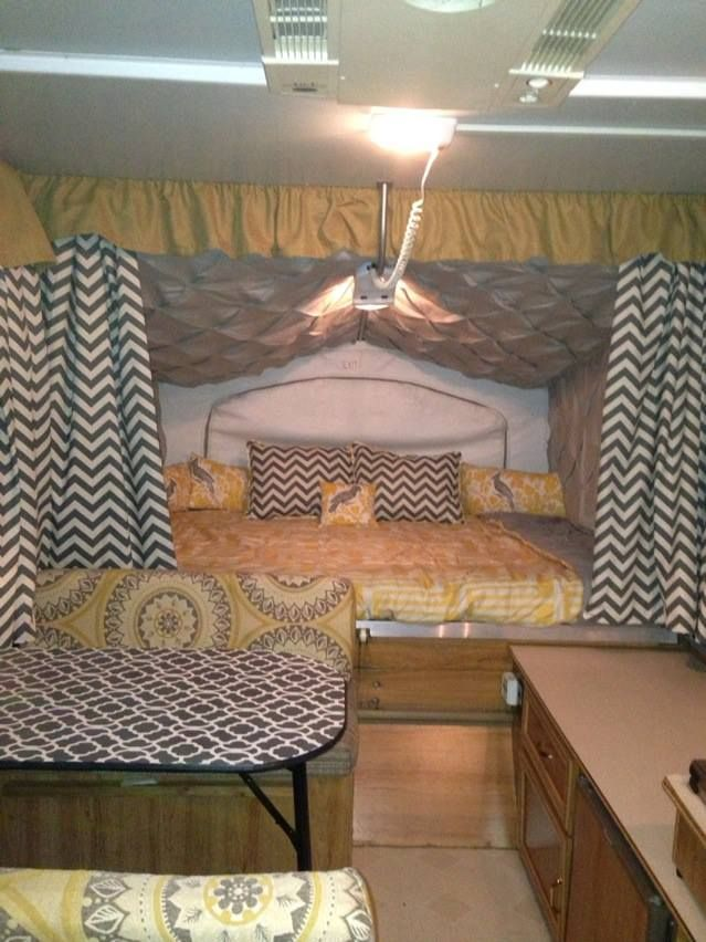 Love the chevron print for curtains for camper