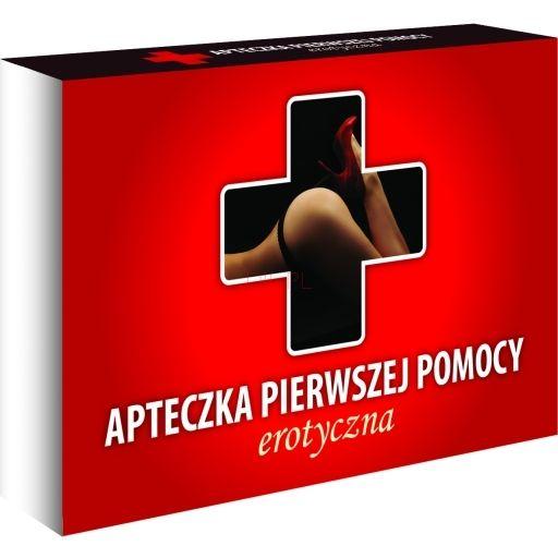 Gra erotyczna dla par - Apteczka Pierwszej Pomocy wersja erotyczna. Zestaw najbardziej niezbędnych akcesoriów, które powinny się znaleźć w każdej sypialni. Apteczka pomoże przełamać nieśmiałość, urozmaica i wzbogaca intymne życie seksualne, dodaje nutki pikanterii.