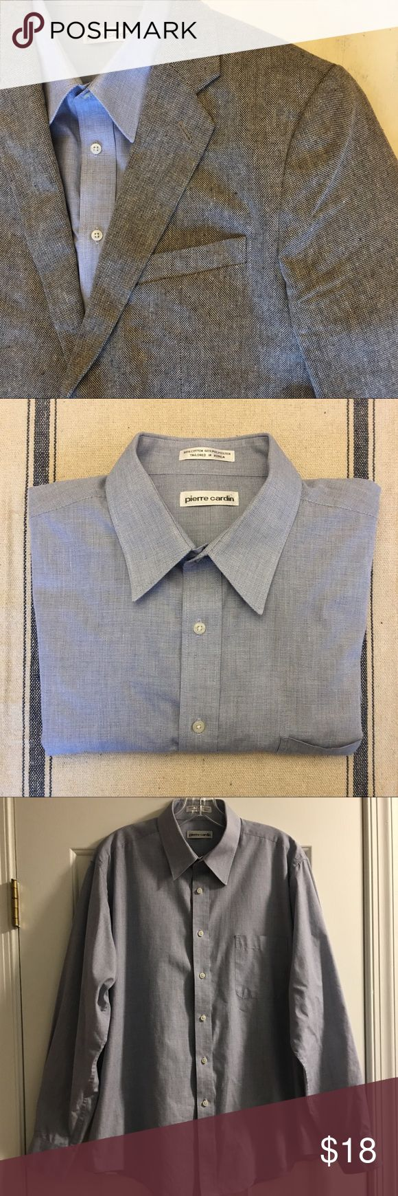 Pierre Cardin Light Blue Button Down Shirt! Pierre Cardin Light Blue Button Down Shirt! Great condition! Size 16 1/2, 34/35. Goes great with suits, blazers, and sports coats! Comment with questions! Bundle and save! Like this listing for a private price drop offer! Pierre Cardin Shirts Casual Button Down Shirts