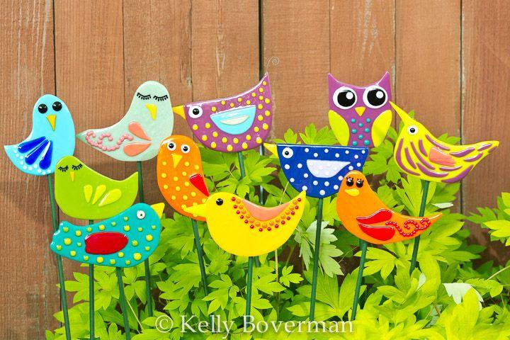 Whimsical fused glass birds for the garden