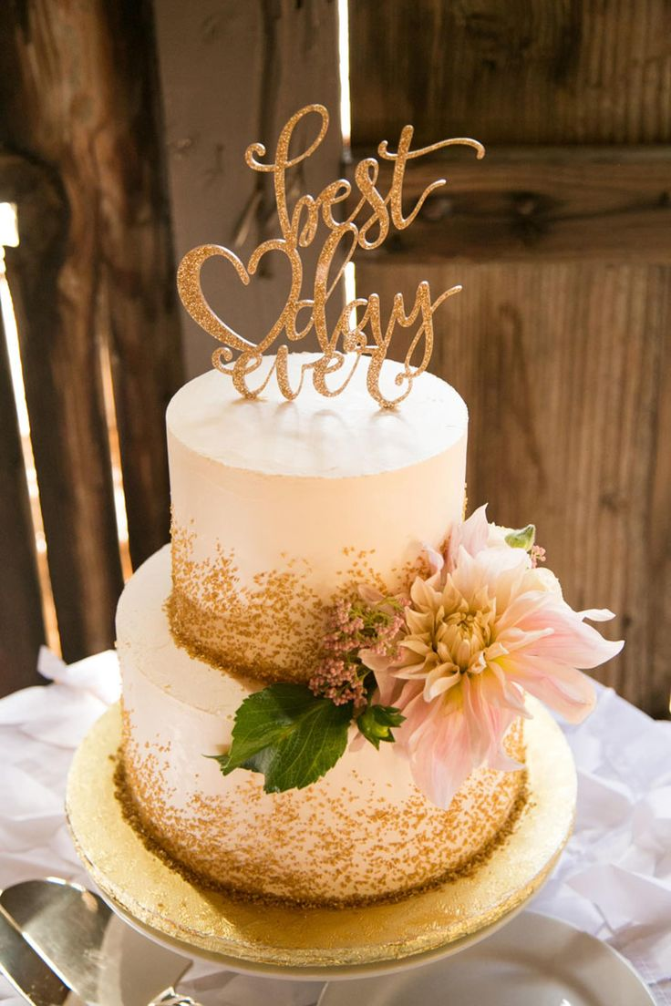 Wedding cake, gold sprinkles, best day ever topper, white buttercream, rustic-glam // A. Blake Photography