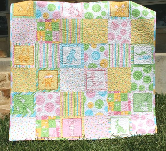 Dr Seuss Baby Girl Quilt Whimsy Fun Pastel by SunnysideDesigns2, $149.00