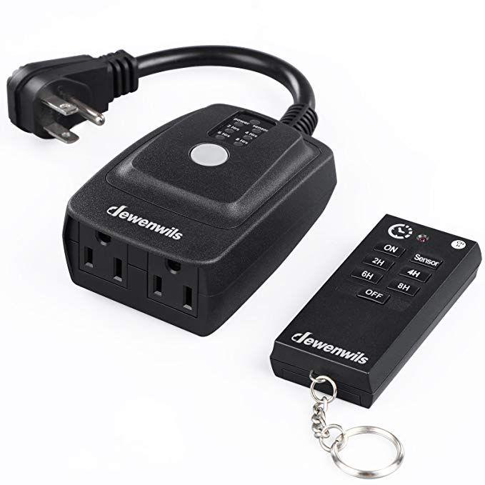 Dewenwils Odt12b Outdoor Light Sensor Timer Heavy Duty Waterproof Plug In Switch 100 Range Remote Control For Remote Control Light Lights Timer Light Sensor