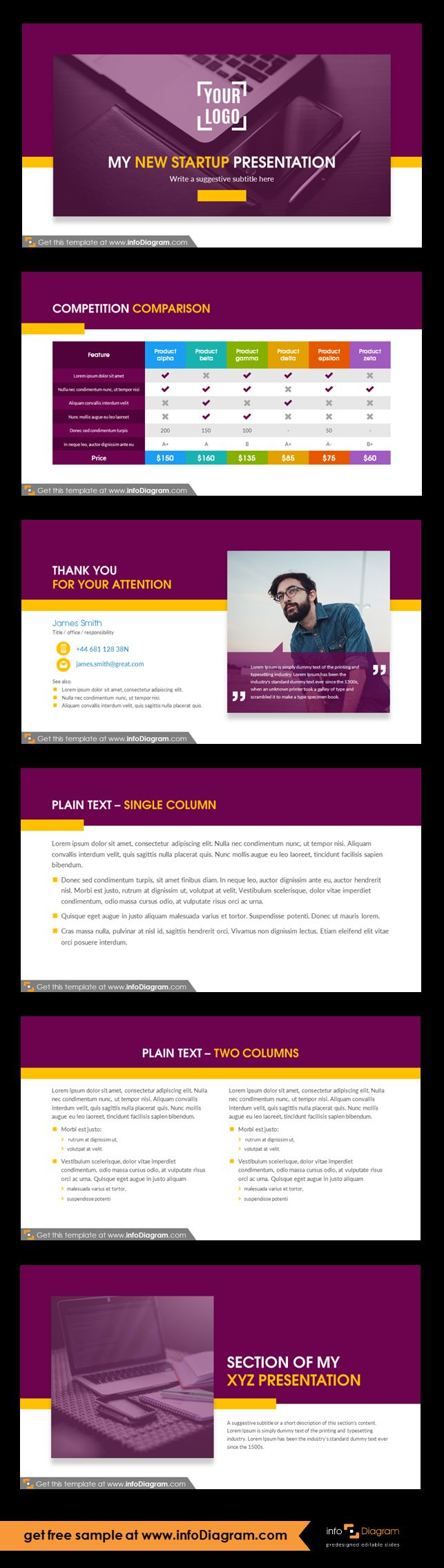 New startup company presentation template and slide deck with several layouts. Predesigned infographics shapes and slide content. Ideal for new business idea presentation or pitch deck for investors. Competition comparison table. Plain text: single and double column Closing slide - thank you for your attention. Fully editable style, size and colors. Create a powerful business presentation. Present your start-up overview.
