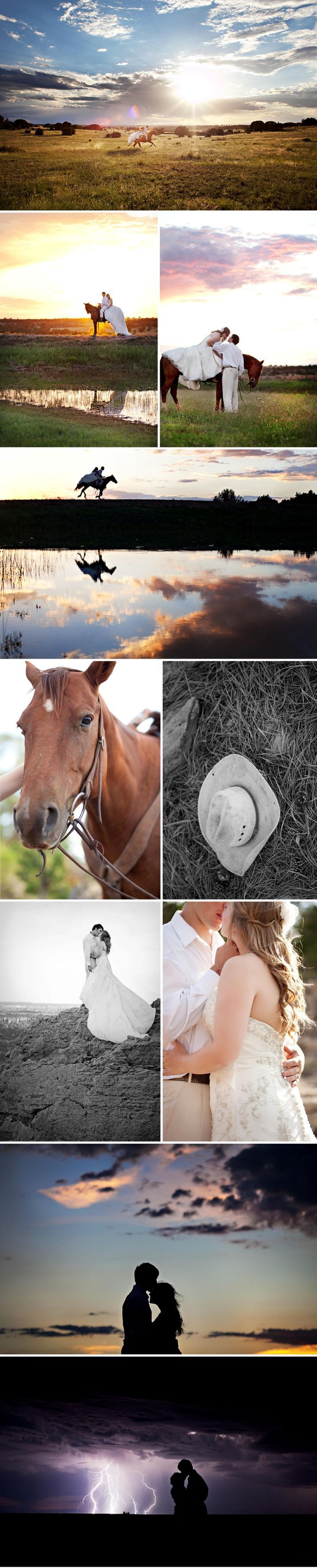 I'm absolutely in love with this bridal shoot! Esp the lighting in the first pic...amazing! LOVE that they include horses