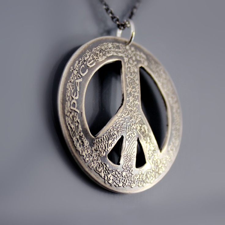 Etched Sterling Silver Peace Symbol Necklace by Lisa Hopkins Design