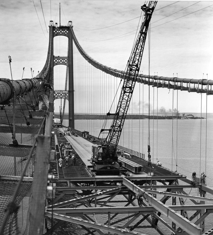 Mackinaw Bridge construction  May 1954 - November 1957.