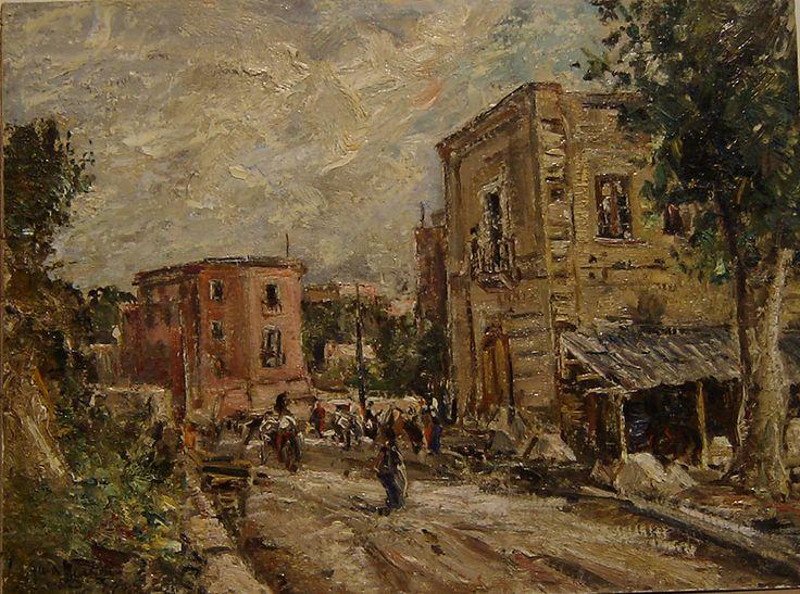 Guido Casciaro (Napoli 1900 - 1963)  Vomero 1950 olio su tavola cm 30x40 Napoli Coll. Privata