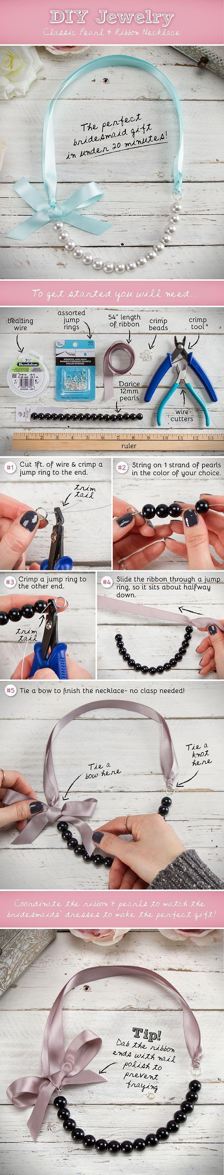 DIY Pearl and Ribbon Necklace diy crafts craft ideas easy crafts diy ideas…