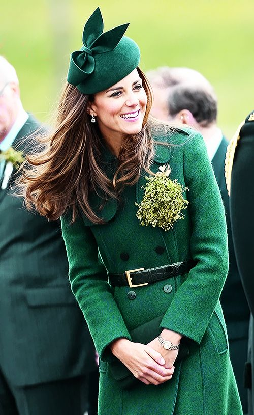 The Duchess of Cambridge attends the St. Patrick's Day parade at Mons Barracks on March 17, 2014 in Aldershot, England.