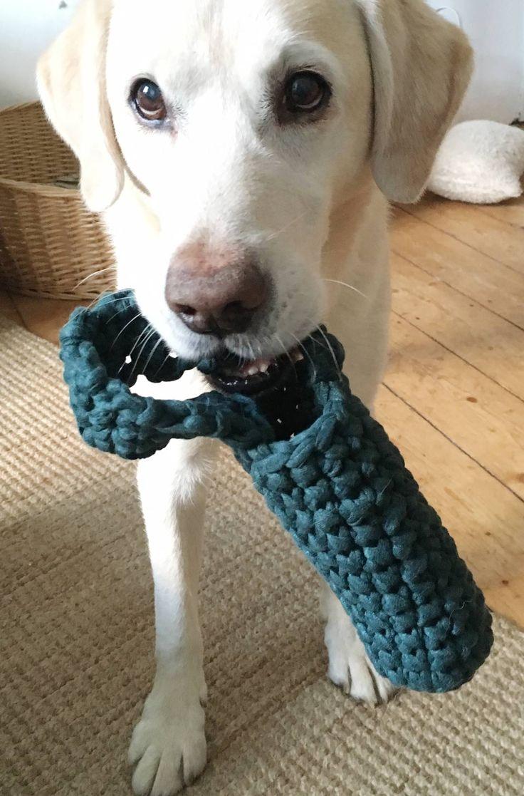 Wenn Ihr Eurem Hund eine Freude machen wollt, probiert diese einfache Häkelanleitung aus. Ihr zaubert damit eine unkaputtbares Hundespielzeug für Euren besten Freund.