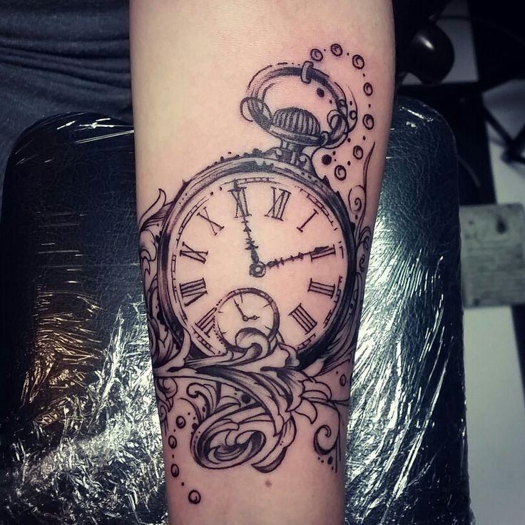 28 Watch Tattoo Designs Ideas: Pocket Watch Tattoo By Inkku Escobar