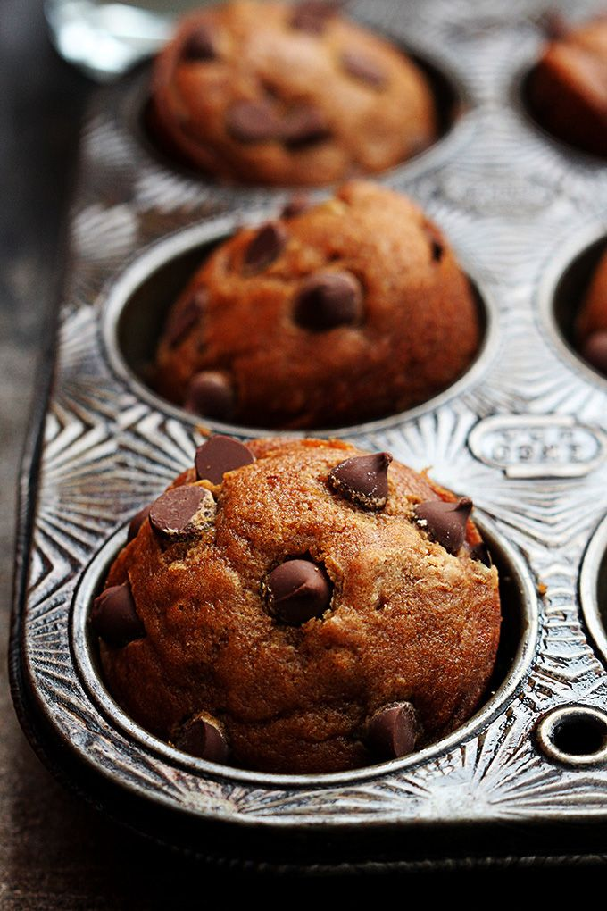 Super moist pumpkin muffins loaded with chocolate chips in every single bite.