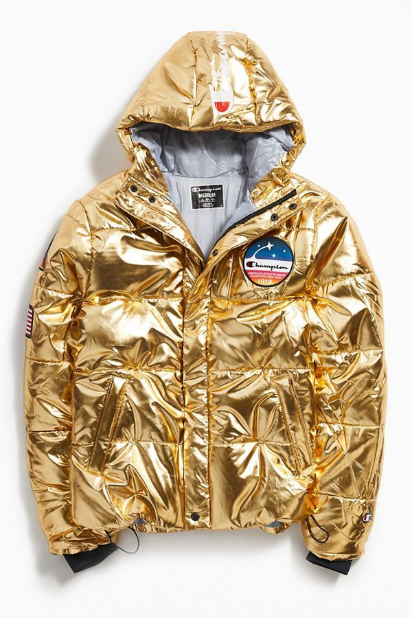 55a6d283b Champion Metallic Puffer Jacket in gold  180. Otherworldly vibes in ...