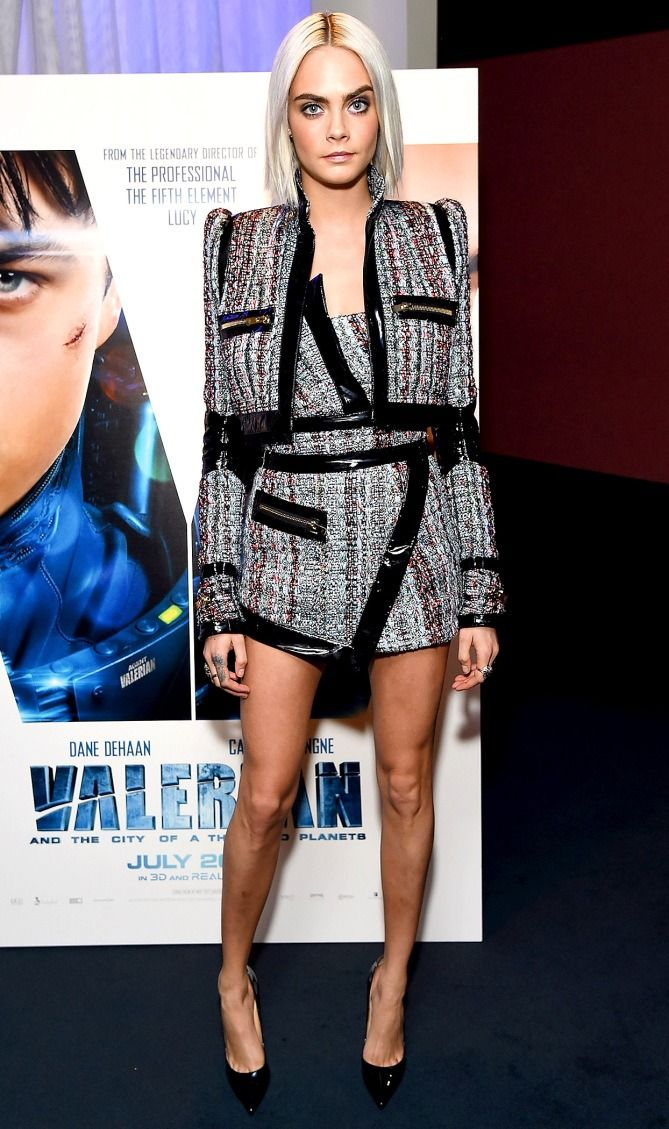 Cara Delevingne in an Alexandre Vauthier mini and jacket