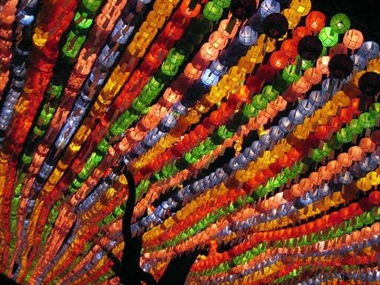 """Buon compleanno, Buddha Questo """"pergolato"""" di lanterne di carta addobba una strada di Seoul, in Corea. Siamo nel bel mezzo del Lotus Lantern Festival - che quest'anno si è svolto dal 2 al 4 maggio -  la più importante festa locale: il compleanno di Buddha."""