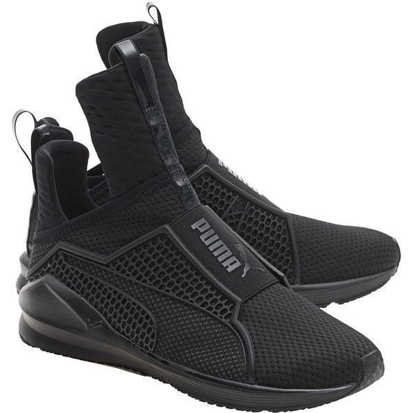 PUMA X RIHANNA Fenty Trainer Black // Limited sneakers (£150) ❤ liked on Polyvore featuring shoes, sneakers, black sneakers, black strappy shoes, black strap shoes, puma shoes and strap sneakers