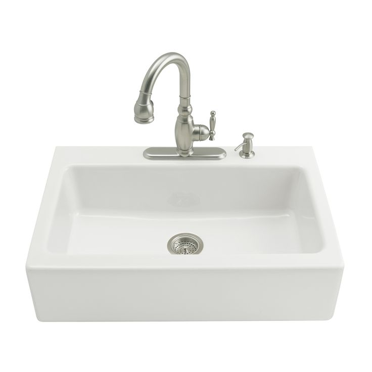 kohler dickinson 2212 in x 33 in white single basin cast iron tile - Kohler Armaturen L Eingerieben Bronze