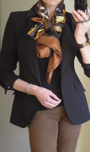 Love the scarf - I believe this knot requires a scarf ring and the crisscross bow method
