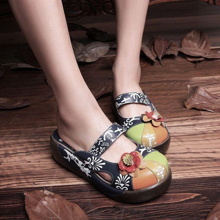 Fashion Ethnic Women's Leather Flip Flops Flower Sandals Slippers Round Toe Shoe   eBay