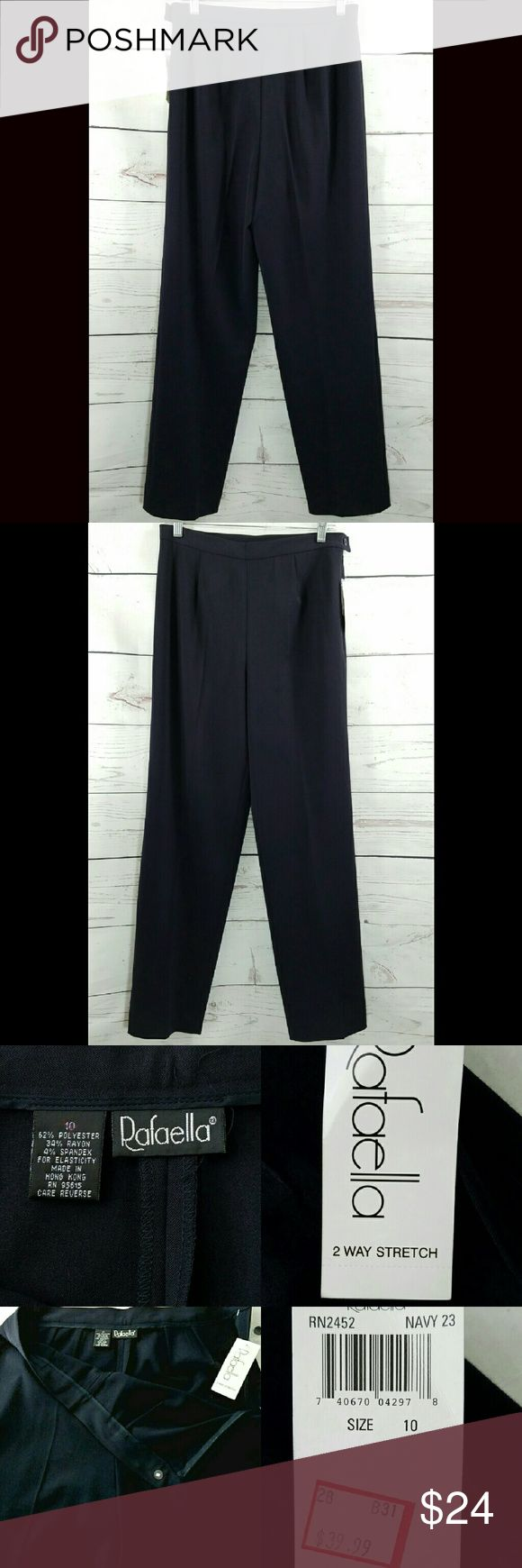 Rafaella Blue Pleated 2 Way Stretch Dress Pants Womens Rafaella Navy Blue Pleated 2 Way Stretch Dress Pants Size: 10 (30x30) NWT  (To see full size pictures, go back to main pictures.)  About this item:  Brand New Side Zip & Button Navy Blue  Size: 10 Waist: 30 Hips: 40 Inseam: 30 Rise: 11.5 Rafaella Pants Straight Leg