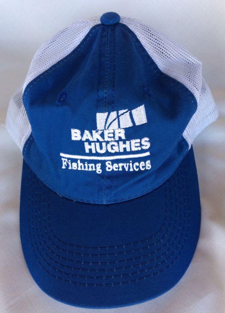 Baker Hughes Fishing Services Baseball Cap Hat Blue White Mesh Adjustable Strap #PlatrinumSeriesbyOutdoorCap #BaseballCap