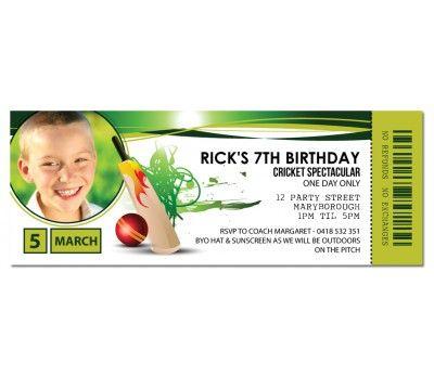 Cricket Ticket Invitations
