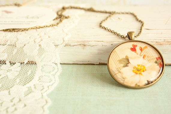 Glass Floral Pendant with Music Sheet, Romantic Necklace Round Head Pendant, Bronze Necklace Long Pendant